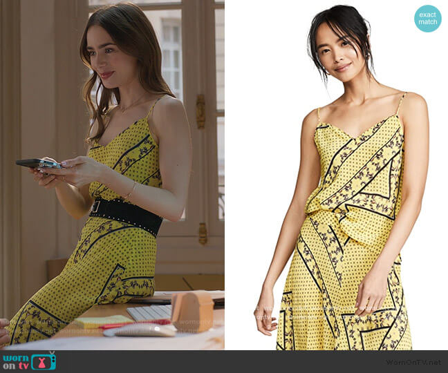 Silk Mix Top and Skirt by Ganni worn by Emily Cooper (Lily Collins) on Emily in Paris