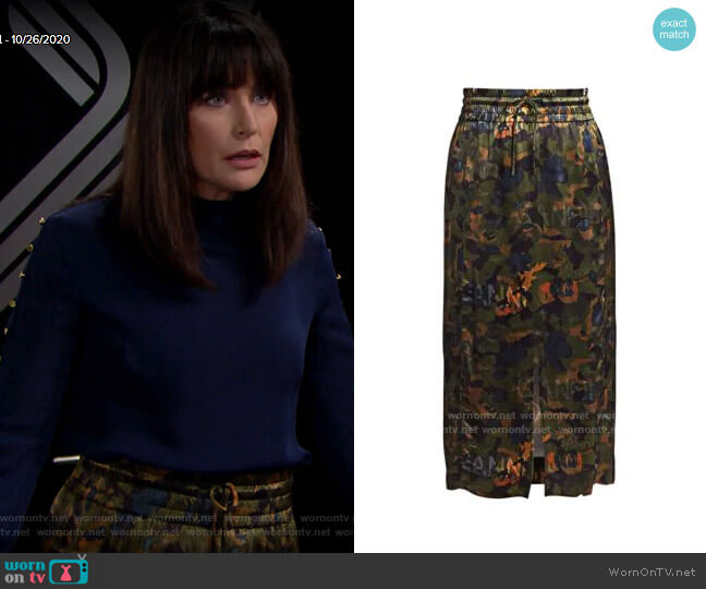 Ganni Floral Print Satin Midi Skirt worn by Quinn Fuller (Rena Sofer) on The Bold & the Beautiful