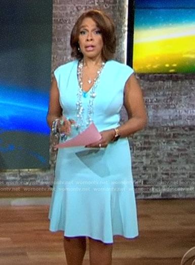 Gayle King's light blue v-neck dress on CBS This Morning