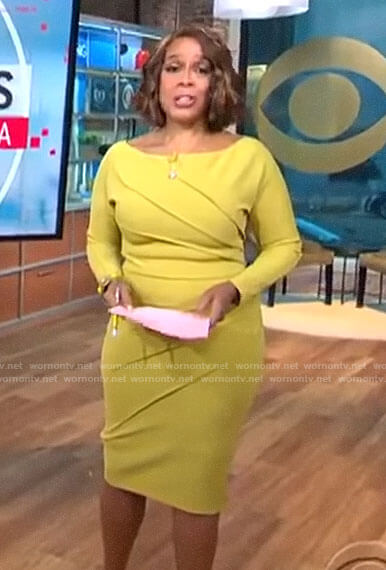 Gayle King's yellow pleated long sleeve dress on CBS This Morning