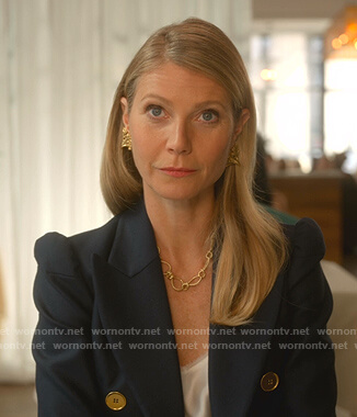 Georgina's navy ruffle-back blazer on The Politician