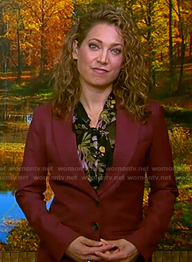 Ginger's burgundy suit and floral tie neck blouse on Good Morning America
