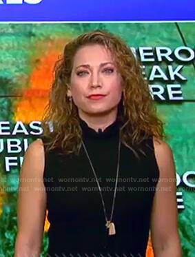 Ginger's black ribbed sleeveless knit dress on Good Morning America