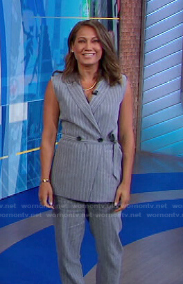 Ginger's grey striped vest and pants on Good Morning America