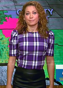 Ginger's purple plaid puff sleeve top on Good Morning America