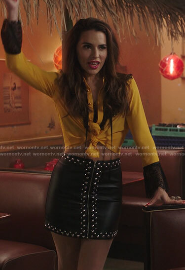 Ginger's studded leather skirt on Filthy Rich
