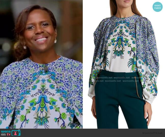 Jacaranda Crepe Puff-Sleeve Blouse by Givenchy worn by Deborah Roberts  on Good Morning America