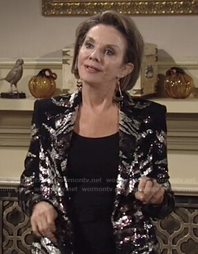 Gloria's sequin zebra blazer on The Young and the Restless