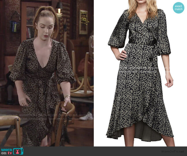 The Wrap Body Leopard Print Midi Dress by Good American worn by Mariah Copeland (Camryn Grimes) on The Young & the Restless