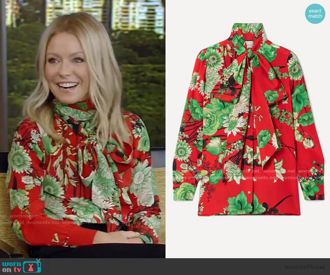 Floral-Print Pussy Bow Blouse by Gucci worn by Kelly Ripa  on Live with Kelly & Ryan