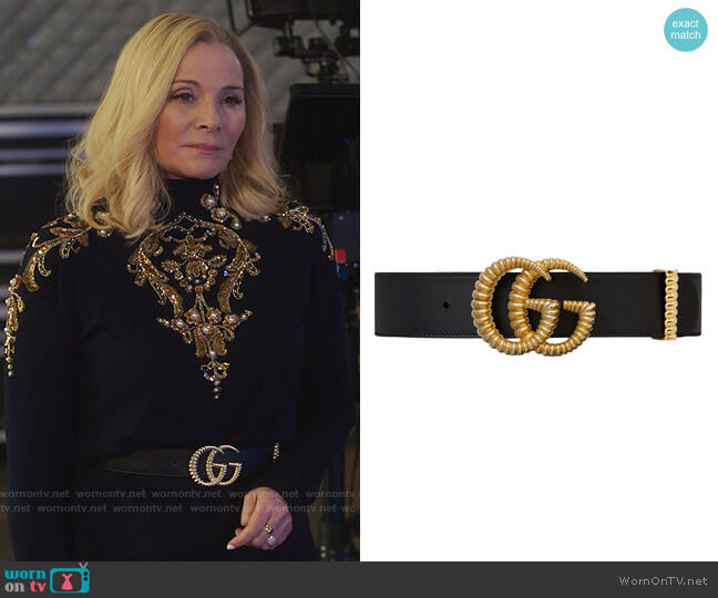 Gucci Leather belt with torchon Double G buckle worn by Margaret Monreaux (Kim Cattrall) on Filthy Rich