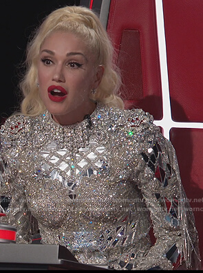 Gwen's rhinestone embellished top and shorts on The Voice
