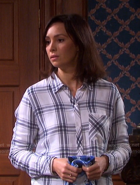 Gwen's white plaid shirt on Days of our Lives