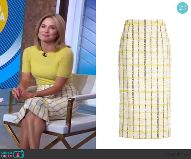 Plaid Tweed Pencil Skirt by Halogen worn by Amy Robach  on Good Morning America