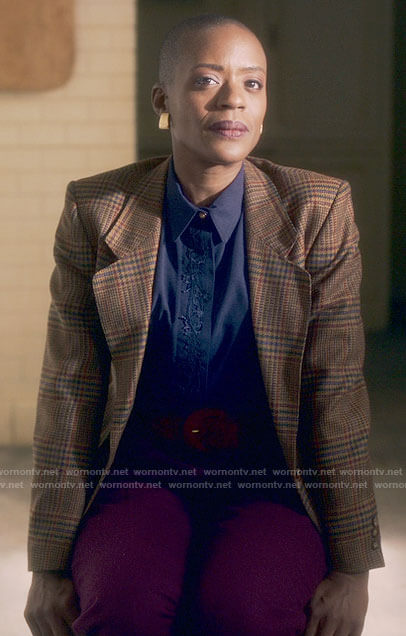 Rebecca's navy silk blouse and brown plaid blazer on The Haunting of Bly Manor