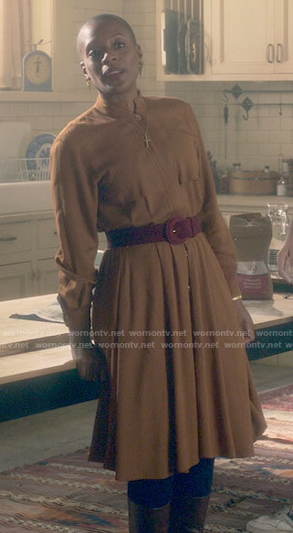 Hannah's mustard yellow shirtdress on The Haunting of Bly Manor
