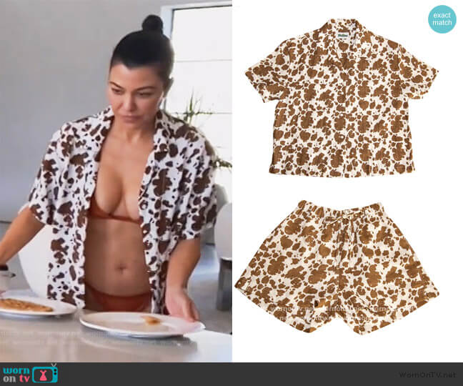Pyjama Short Set in Cowhide by Holiday the Label worn by Kourtney Kardashian  on Keeping Up with the Kardashians