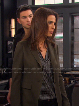 Hope's striped wrap top and green blazer on Days of our Lives