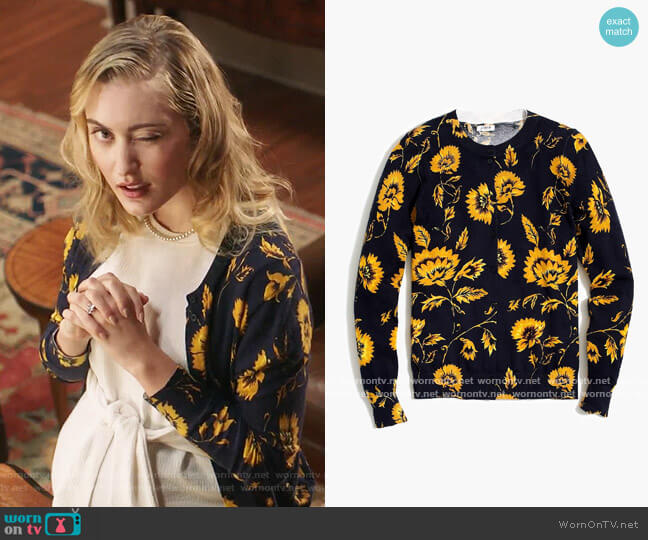 J. Crew Floral Caryn Cardigan worn by Becky Monreaux (Olivia Macklin) on Filthy Rich
