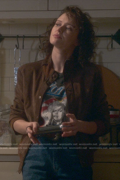 Jamie's Blondie tee and brown suede jacket on The Haunting of Bly Manor