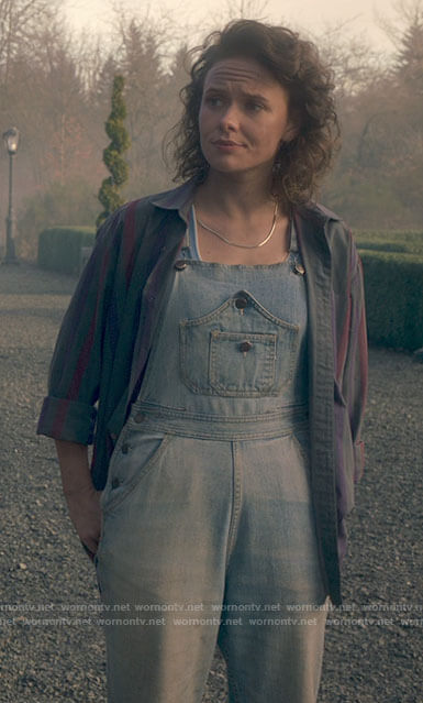 Jamie's denim overalls with front pockets and striped shirt on The Haunting of Bly Manor