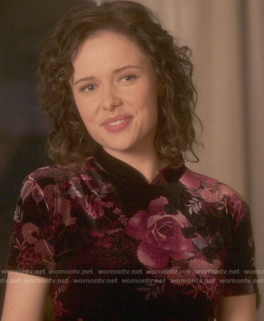 Jamie's floral velvet dress on The Haunting of Bly Manor