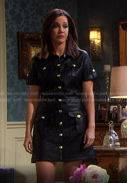 Jan's black button front leather dress on Days of our Lives