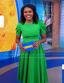 Janai's green puff sleeve midi dress on Good Morning America