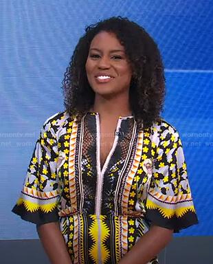 Janai's mixed print midi dress on Good Morning America
