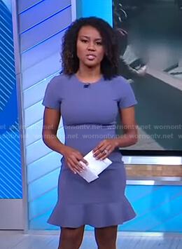 Janai's purple ruffle hem dress on Good Morning America