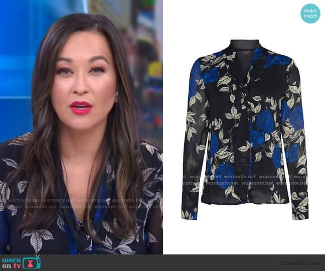 Floral Tie Neck Blouse by Jason Wu worn by Eva Pilgrim  on Good Morning America