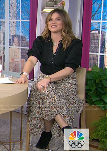 Jenna's black puff sleeve blouse and floral skirt on Today