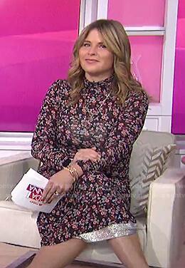 Jenna's black floral jersey dress on Today