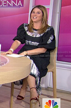 Jenna's black tie dye puff sleeve midi dress on Today
