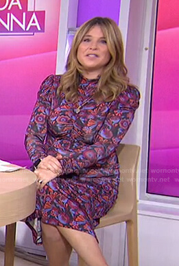 Jenna's purple floral ruched dress on Today