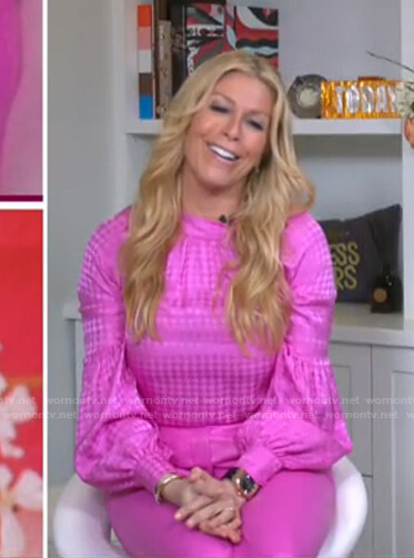Jill's pink houndstooth blouse and leather pants on Today