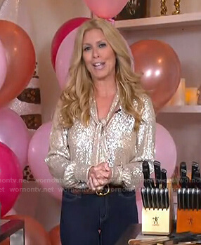 Jill's sequin tie neck blouse on Today