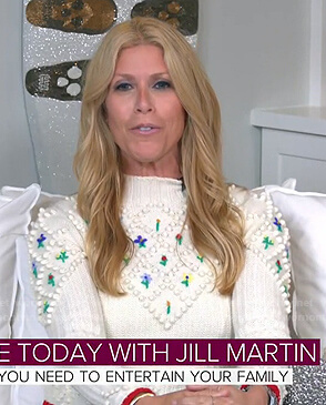 Jill's white floral embroidered sweater on Today