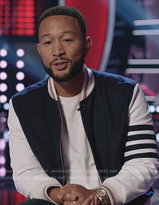 John Legend's stripe bomber jacket on The Voice