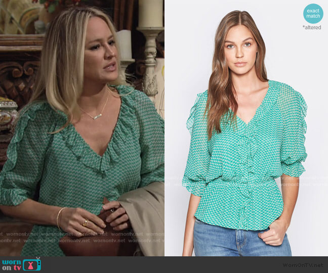 Zaida Silk Top by Joie worn by Sharon Collins (Sharon Case) on The Young & the Restless