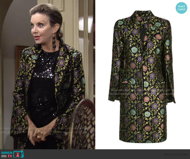 Ornate Floral Jacquard Coat by Josie Natori worn by Gloria Abbott Bardwell (Judith Chapman) on The Young & the Restless