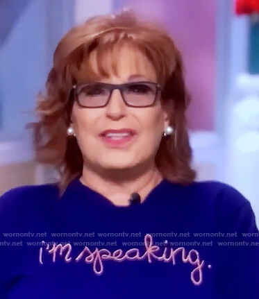 Joy's blue I'm Speaking sweater on The View