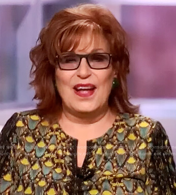 Joy's printed lace trim blouse on The View