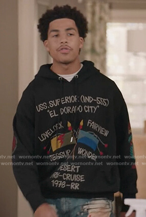 Junior's black El Dorado sweater on Black-ish