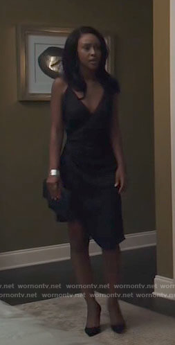 Karen's black asymmetric slip dress on Tyler Perrys Sistas