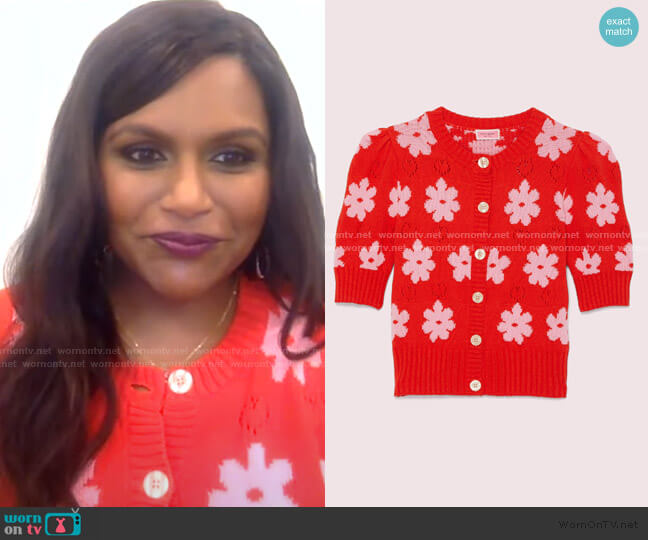 Marker Floral Cardigan by Kate Spade worn by Mindy Kaling on GMA