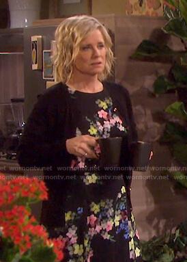 Kayla's black floral dress on Days of our Lives