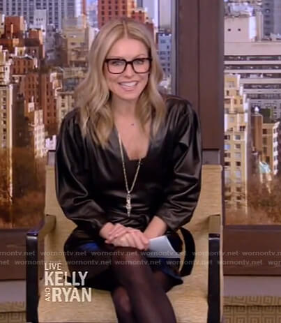 Kelly's black leather wrap dress on Live with Kelly and Ryan