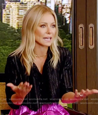 Kelly's black metallic blouse and skirt on Live with Kelly and Ryan