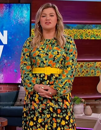 Kelly's green contrast floral dress on The Kelly Clarkson Show